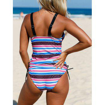 Plunging Neckline Backless Striped Tankini Set - COLORMIX XL