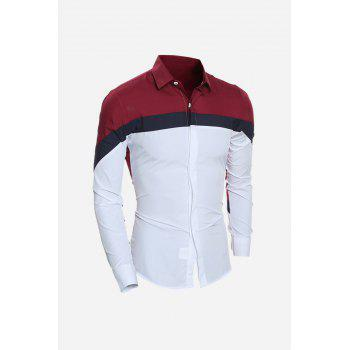 Long Sleeve Color Block Slim Shirt - WINE RED M
