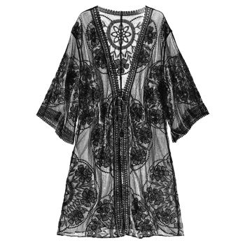 Embroidered Sheer Kimono Cover Up - BLACK ONE SIZE