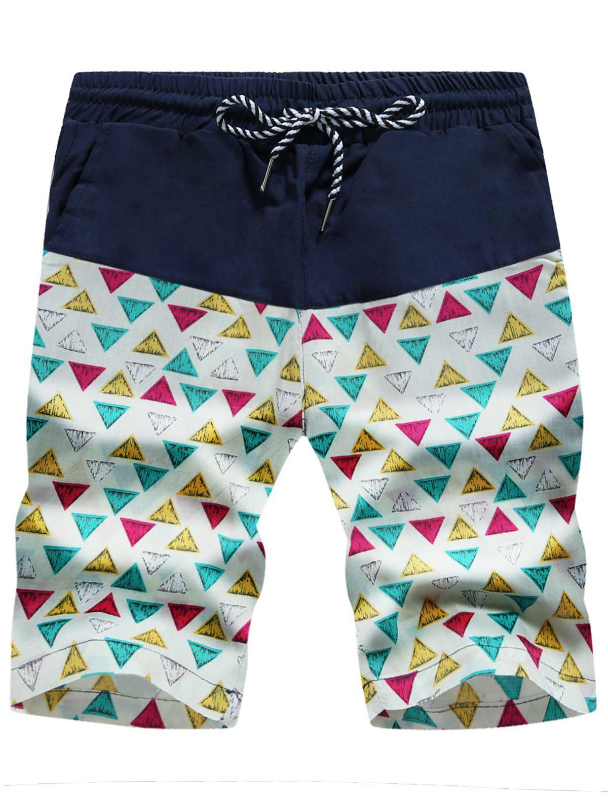 Colorful Drawstring Geometric Print Board Shorts - TRIANGLE PATTERN 2XL