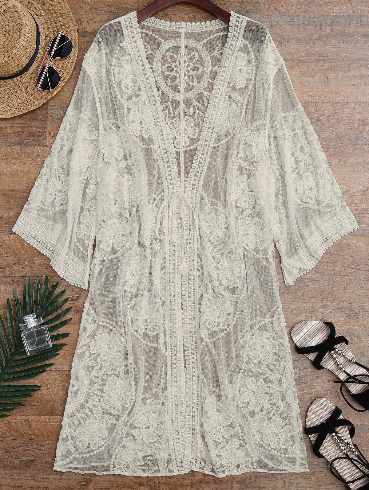 Embroidered Sheer Kimono Cover Up - APRICOT ONE SIZE