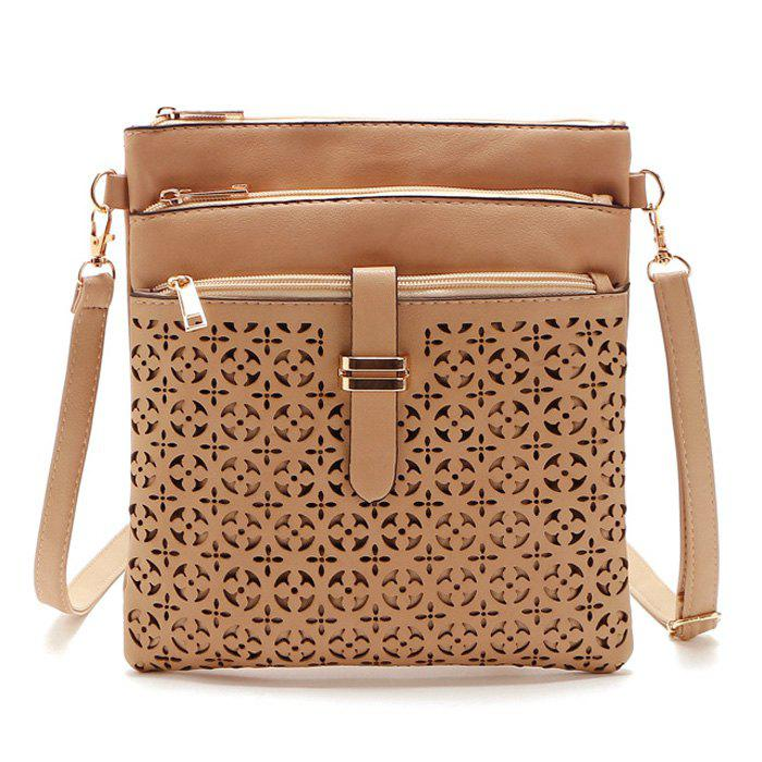 PU Leather Cut Out Crosbody Bag - LIGHT BEIGE