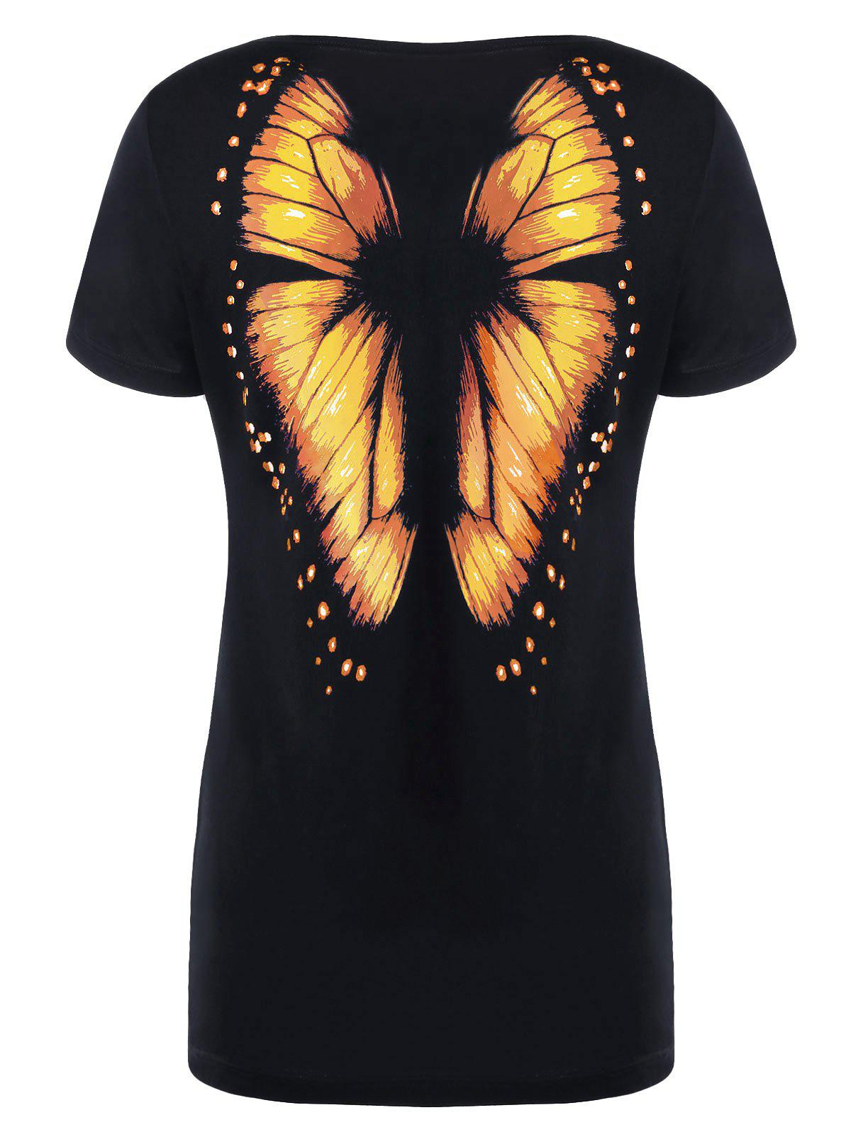 Butterfly Print Short Sleeve Tee - ORANGE 2XL