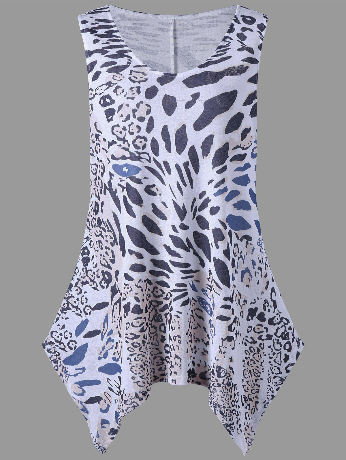 Leopard Print Sleeveless Plus Size Tunic Top