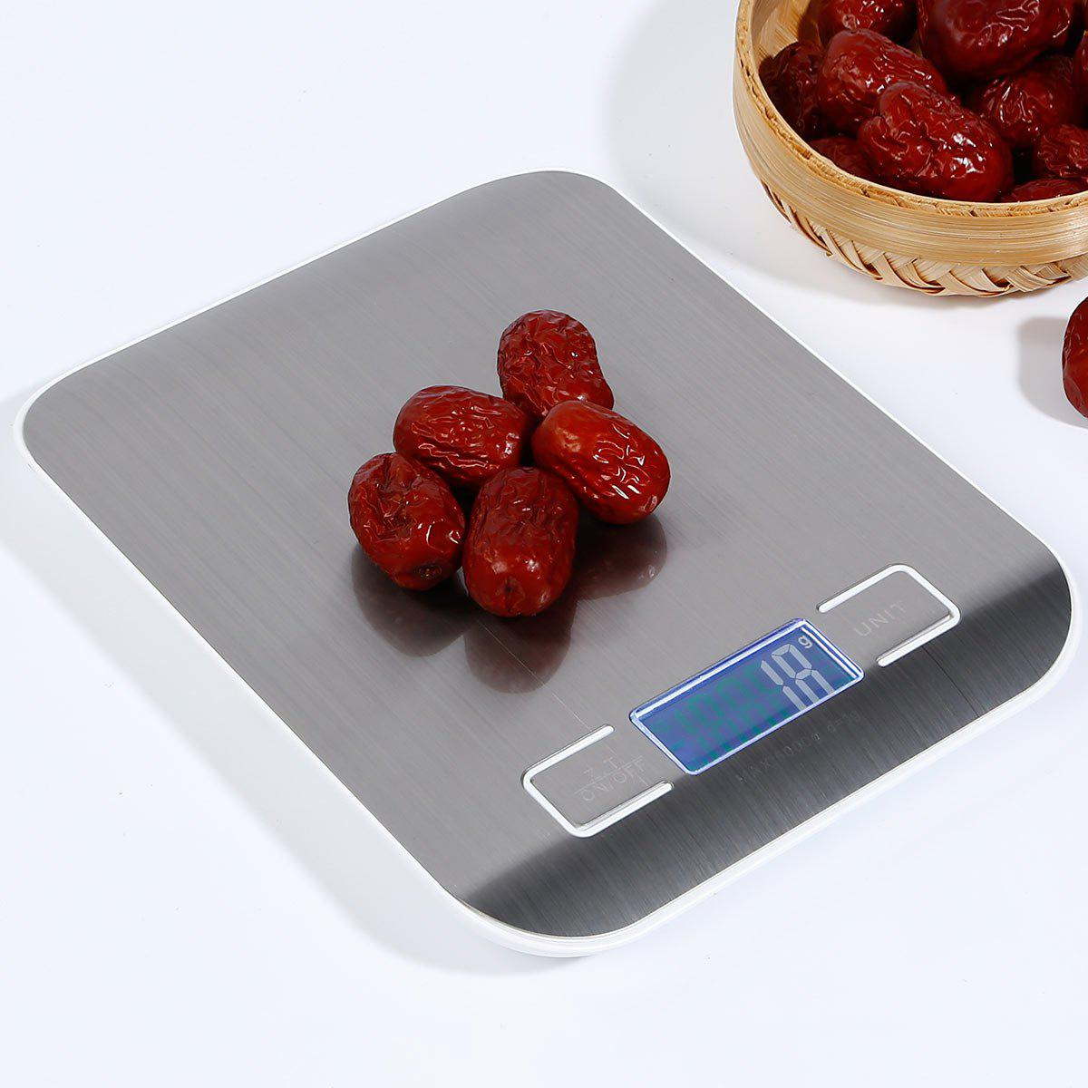 5KG/1G Food Diet Stainless Steel Kitchen Electronic Scale - SILVER 18*14*1.7CM(5KG/1G)