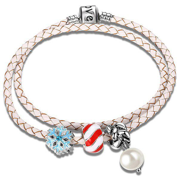 Artificial Pearl Leather Rope Snow Beaded Bracelet christos gage justice league beyond power struggle