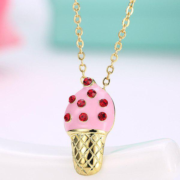 Ice Cream Shape Rhinestone Inlaid Pendant Necklace - PINK