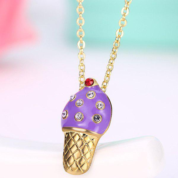 Ice Cream Shape Rhinestone Inlaid Pendant Necklace yldz001 fashionable moon shaped rhinestone inlaid pendant necklace golden transparent