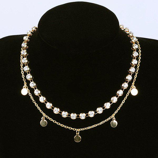 Metal Round Piece Rhinestone Layered Choker Necklace triple layered rhinestone choker necklace