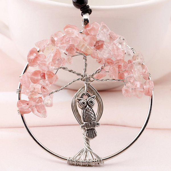 Metal Owl Artificial Crystal Life Tree Necklace - PINK