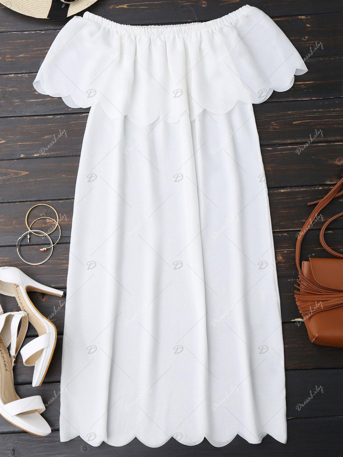 Off The Shoulder Scalloped Dress - WHITE XL