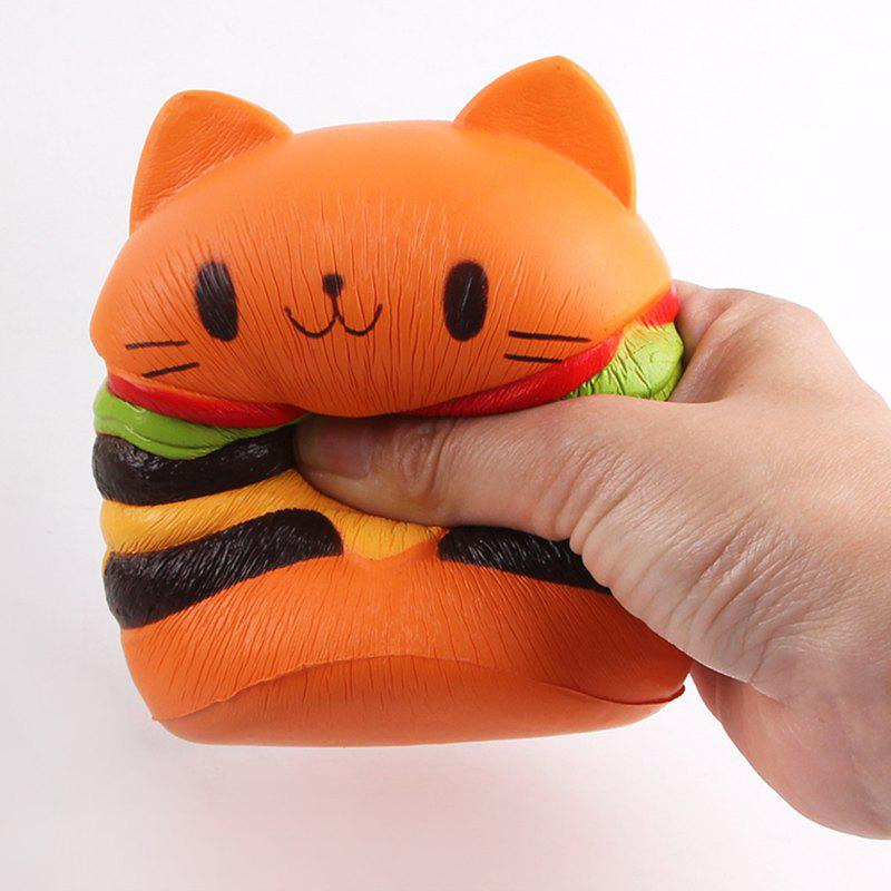 Cartoon Cat Hamburger Squishy Charms Toy - ORANGE