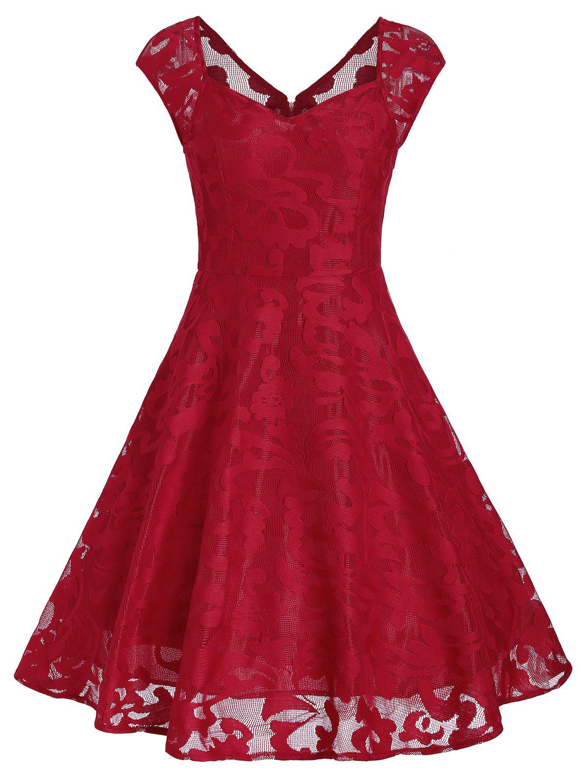 Vintage Sweetheart Neck Overlay Dress - RED S