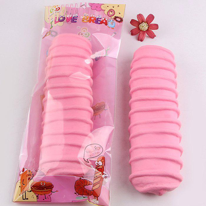 1Pcs Slow Rising Caterpillar Bread Shaped Squishy Toy, Pink