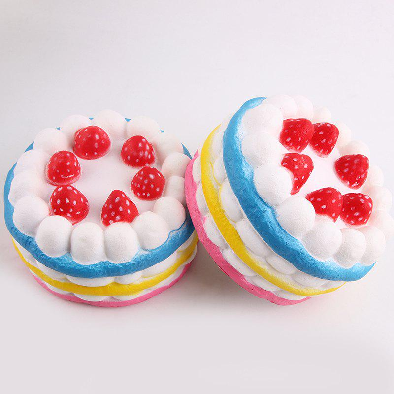 1Pcs Squeeze Slow Rising Strawberry Cake Squishy Toy - COLORFUL