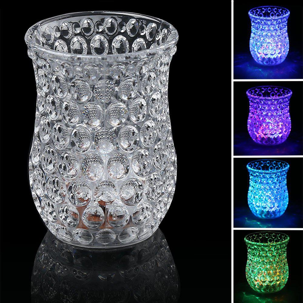 LED Flash Inductive Rainbow Color Change Honeycomb Cup - TRANSPARENT