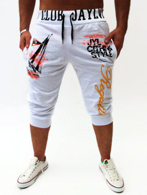 Graphic Sailing Print Drawstring Cropped Joggers - WHITE XL