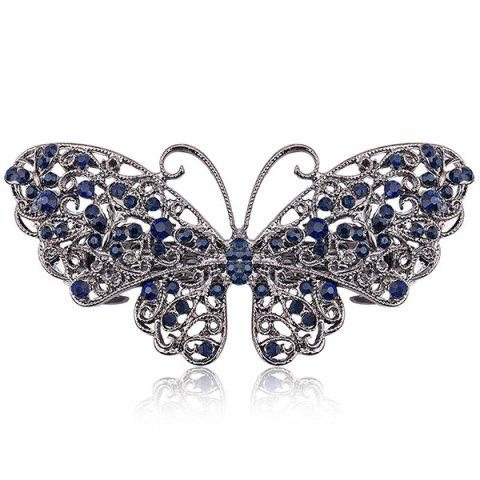 Faux Sapphire Inlay Hollow Out Butterfly Barrette - BLUE