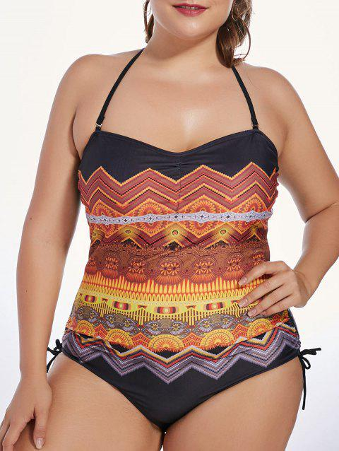40a1be76bbe1c 2018 Tribal Print Padded Plus Size One Piece Swimsuit In ORANGE 5XL ...