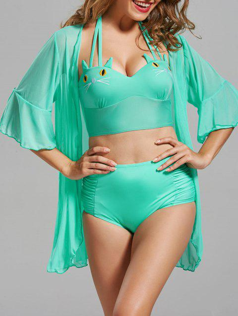 Cat Shape High Waisted Bikini with Cover-Up - LIGHT GREEN M