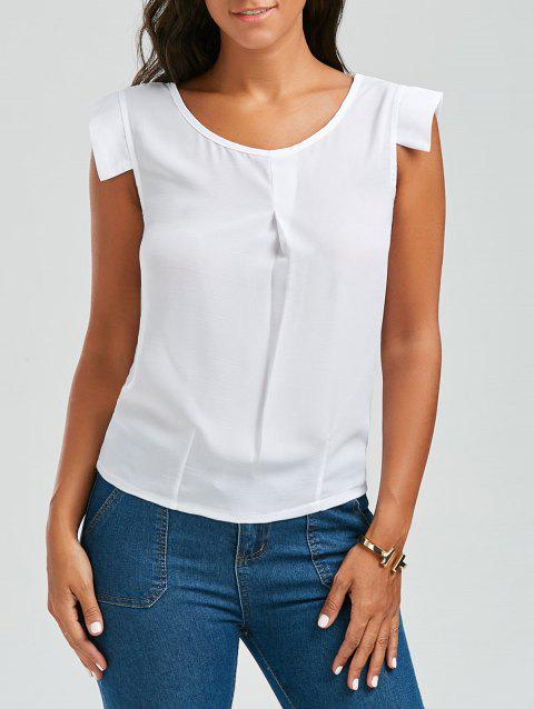 Brief White Scoop Neck Sleeveless Chiffon Blouse For Women - WHITE M