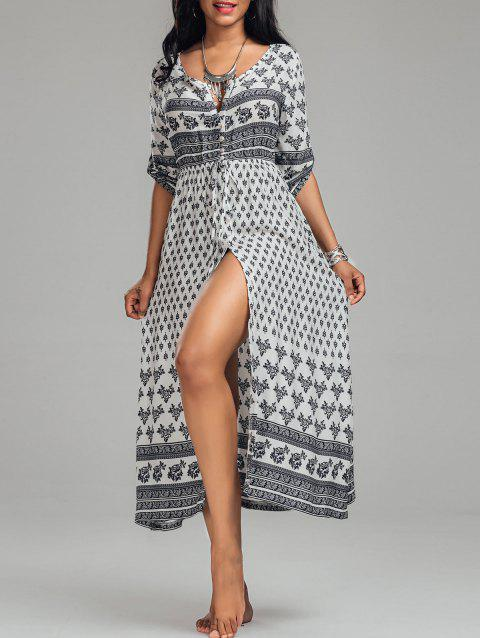 Bohemian Tribal Print Button Down Split Dress - WHITE L