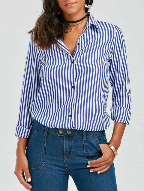 Casual Shirt Collar Stripes Print Long Sleeve Women's Blouse - BLUE/WHITE M