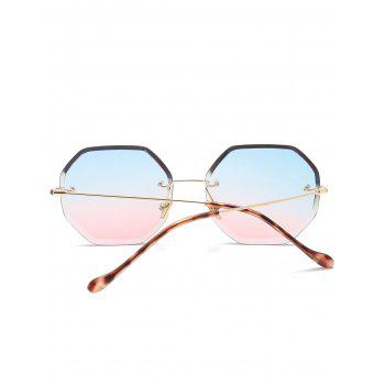 Geometrical Ombre Rimless Sunglasses - BLUE/PINK