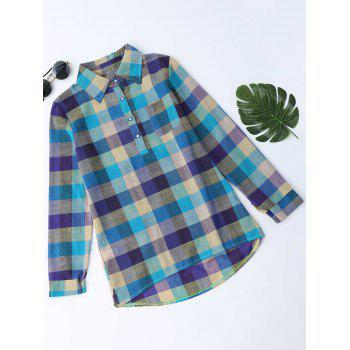 Plaid Longline Side Slit Blouse