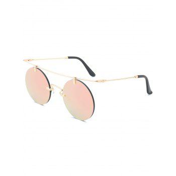 Round Mirror Straight Crossbar Rimless Sunglasses