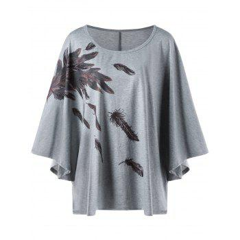 Plus Size Dolman Sleeve Feather Print T-shirt