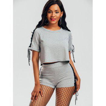 Raglan Sleeve Lace Up T-shirt and Shorts - GRAY GRAY