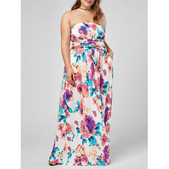 Strapless Floral Maxi Plus Size Formal Dress