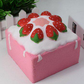 Simulation Food Strawberry Square Cake Slow Rising Squishy Toy - PINK PINK
