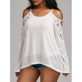Lace Panel Cold Shoulder Tunic Top