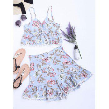 Floral Lace-up Cami Top and High Waisted Shorts