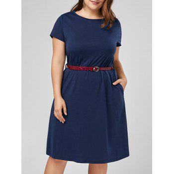 Knee Length A Line Plus Size Dress with Belt