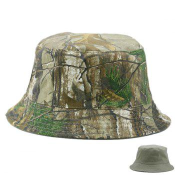 Camouflage and Solid Color Reversible Bucket Hat