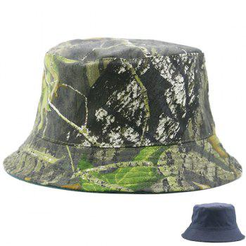 Reversible Camouflage with Pure Color Bucket Cap