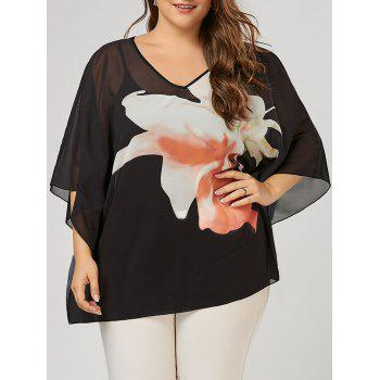 Plus Size Floral Pattern Batwing Sleeve V Neck Tunic Top