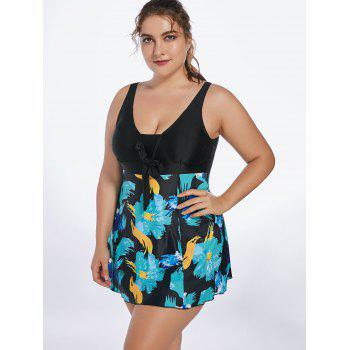 Floral Padded Skirted Plus Size One Piece Swimsuit - BLUE GREEN 5XL