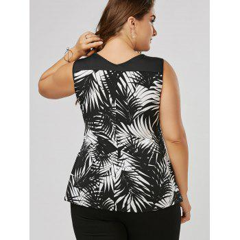 Plus Size Twist Front Slim Fitting Top - WHITE/BLACK 3XL