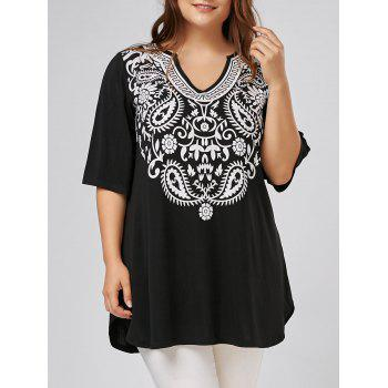 V Neck Printed Plus Size Tunic Top