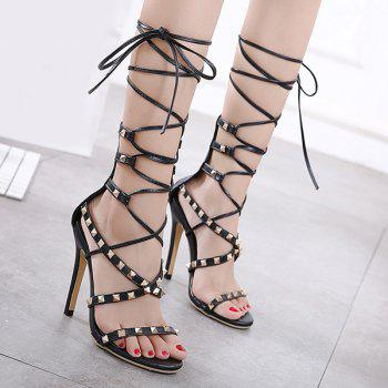 Tie Leg Rivet Stiletto Heel Sandals