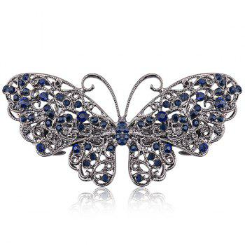 Faux Sapphire Inlay Hollow Out Butterfly Barrette