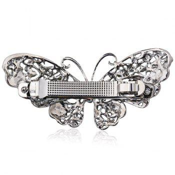 Faux Sapphire Inlay Hollow Out Butterfly Barrette - Bleu