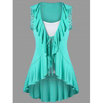 Ruffle Trim High Low Hem T-shirt with Camisole