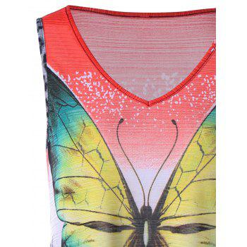 Leopard and Butterfly V Neck Sleeveless T-shirt - COLORMIX M