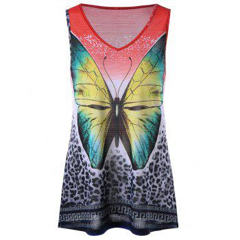 Leopard and Butterfly V Neck Sleeveless T-shirt