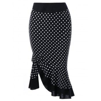 Bowknot Embellished Polka Dot Mermaid Skirt